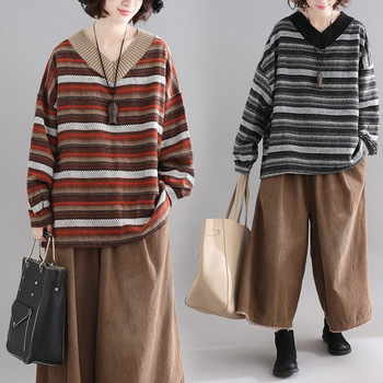 Pullovers Women Oversize Sweater Winter  Warm Ulzzang BF Unisex Couples Casual Striped Knit Coat Hip Hop Fashion Retro Daily 1