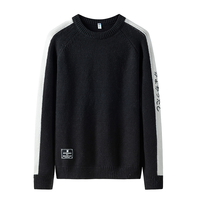 Sweater Men O-neck Patchwork Black Pullover Men Sweater Male 2019 Casual Warm Men's Sweater Autumn Winter Pullover Men 5 Colors