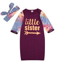 Летняя детская пижама для девочек, Удобная Повседневная Пижама из полиэстера с цветочным принтом+ повязка на голову, комплект из 2 предметов