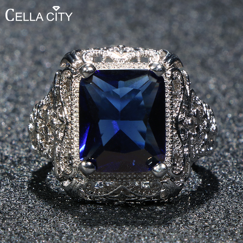 Cellacity Silver 925 Ring For Women Fine Jewelry With Square Gemstones Silver  Rings Anniversary Rings Gift Wholesaie Size 6-10
