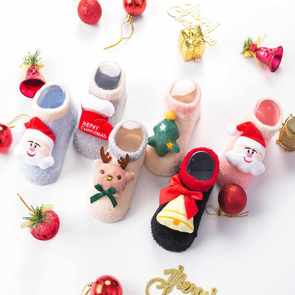 Christmas Winter Step Shoes Warm Socks Toddler Infant Baby Boy Girl Cartoon Xmas Cotton Socks #BL5