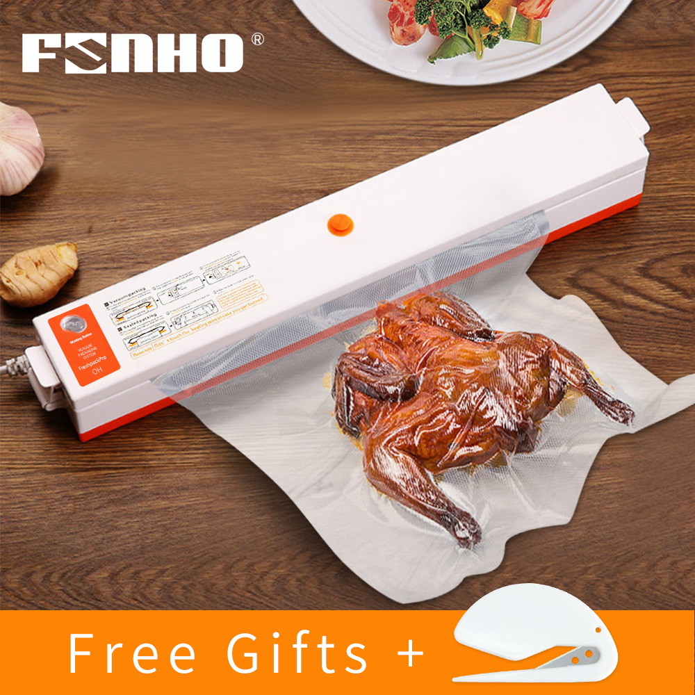FUNHO Household Food Vacuum Sealer 220V/110V Packaging Machine Film Sealer Vacuum Packer Keep Food Fresh Including 10Pcs Bags