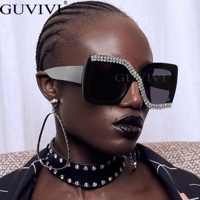 Diamond Square Sunglasses Women 2020 Luxury Vintage Oversized Sunglasses Unique One Piece Rhinestone Glasses Shades gafas de sol 2