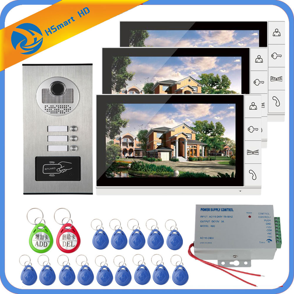 9 Inch Home Video Interphone Doorphone Bell Kits Home Families Door Inductive Card Camera With 3 Monitor Intercom Systems