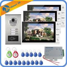 9 zoll Home Video Sprech Türsprechanlage Glocke Kits Hause Familien Tür Induktive Karte Kamera mit 3 Monitor Intercom Systeme