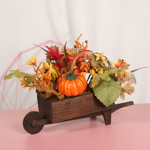 Artificial Pumpkins Car Mini Fake with Maple Leaves for Halloween Home Desktop Ornaments Party Decoration