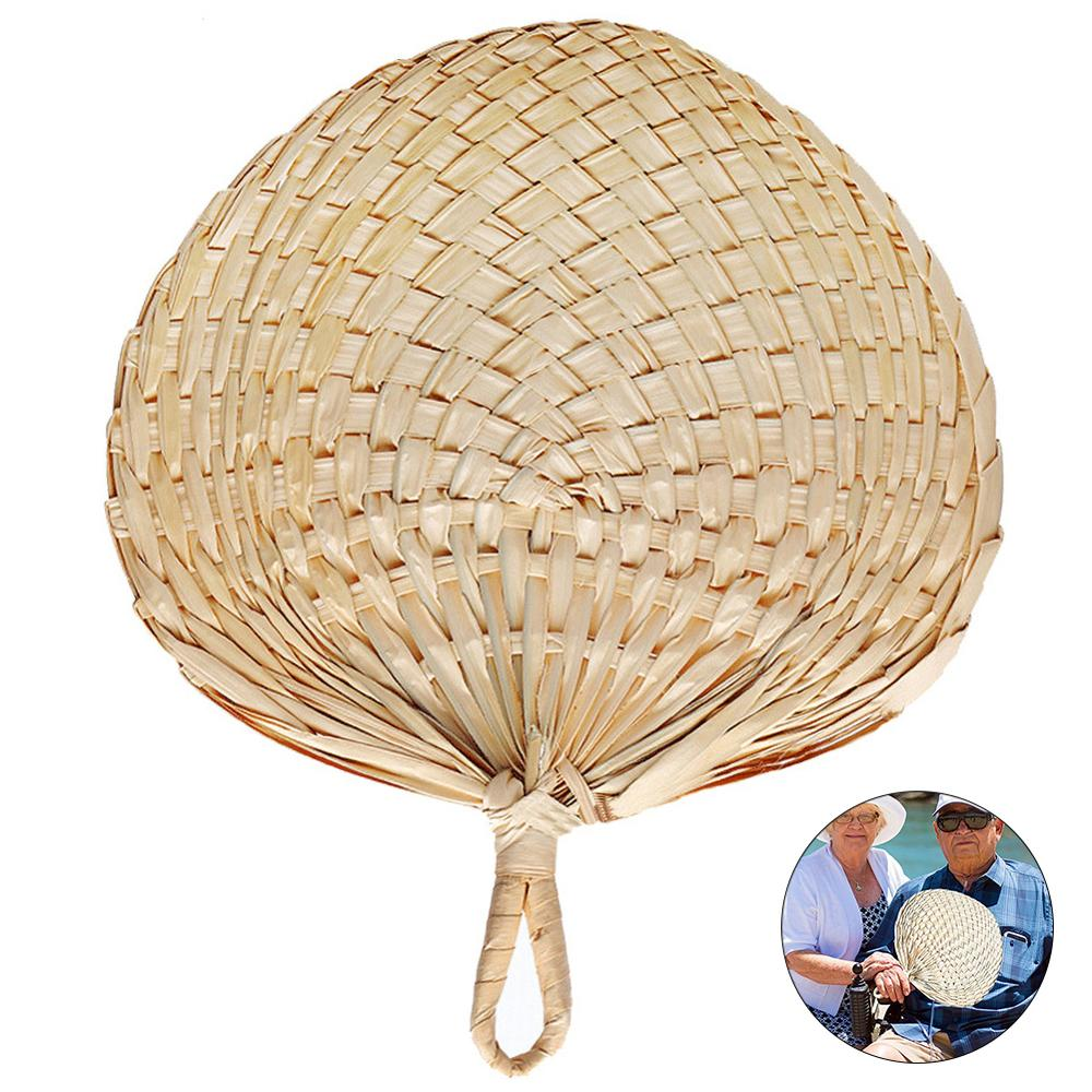Chinese Style Handmade Fan Natural Hand Weaving Palm Leaf Fan Home Decor Vintage Cool Fan Summer Children Fan Daily Necessities