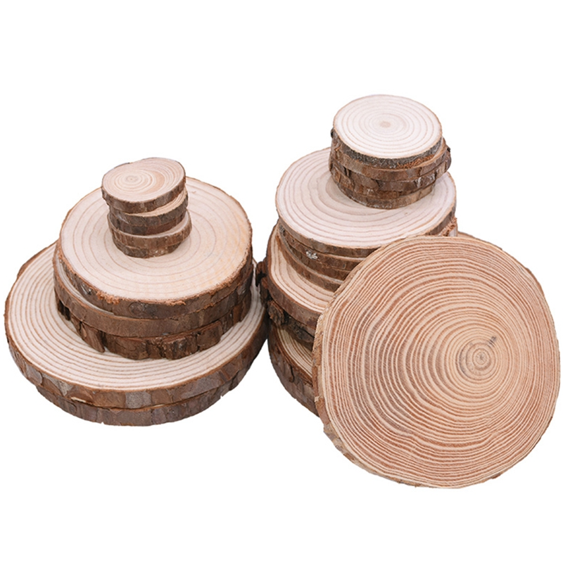 3-12cm Thick Natural Pine Round Unfinished Wood Slices Circles With Tree Bark Log Discs DIY Crafts Wedding Party Painting Decor