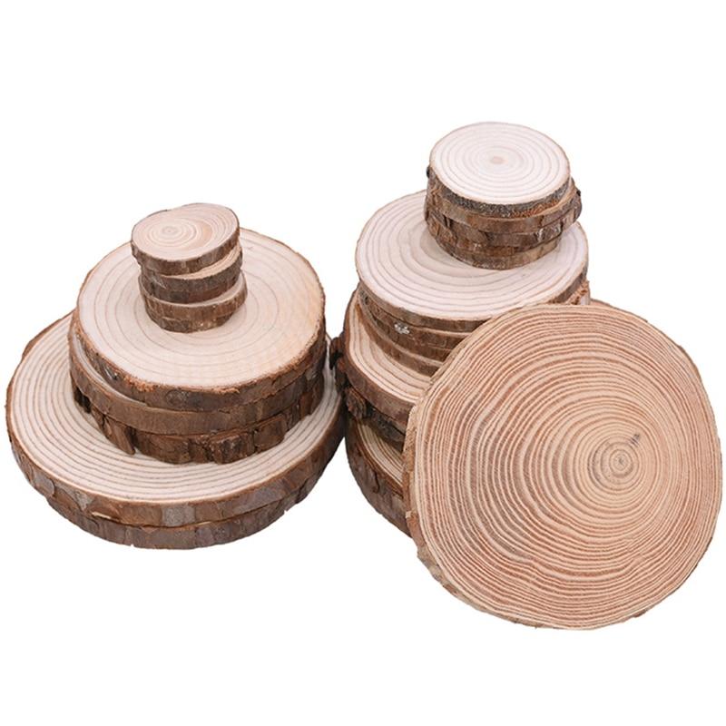 3-12cm de espessura natural pinho redondo inacabado fatias de madeira círculos com casca de árvore discos de registro diy artesanato festa de casamento pintura decoração