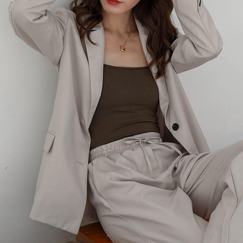 Women Spring Autumn Fashion Korean Style Casual Blazer Long Sleeve Single Breasted Ladies Office Blazer Outwear Tailored Coat