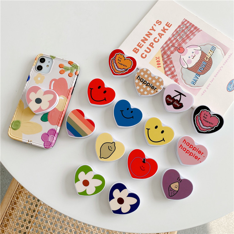 Cute Heart Flower Folding Stand For Mobile Phone For IPhone 11 For Samsung For Huawei Case Funny Cartoon Animal Grip Kichstand