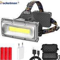 COB LED faro potente lampada frontale a lungo raggio lampada frontale impermeabile lampada frontale di ricarica USB torcia frontale torcia