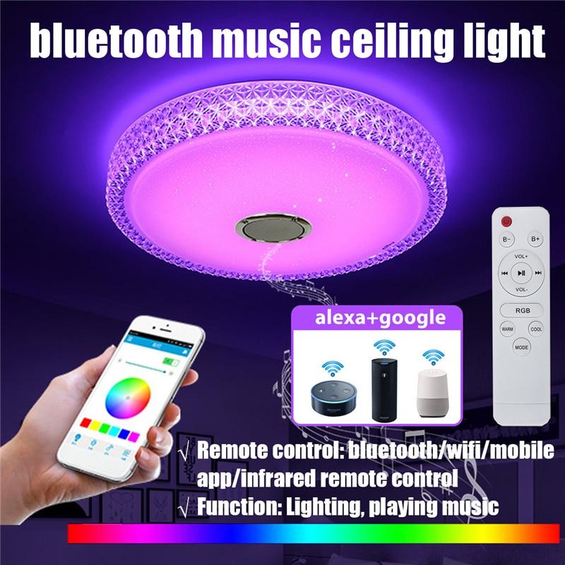 60W WiFi Modern RGB LED Ceiling Lights Home Lighting APP bluetooth Music Light Bedroom Lamp Smart Ceiling Lamp+Remote Control