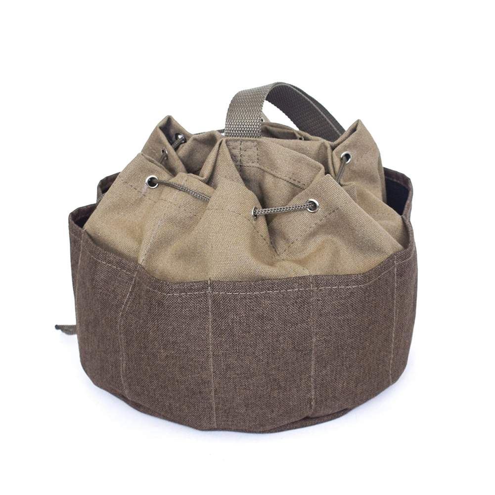 Storage Portable Khaki Tool Bag Multi-pocket Drawstring Repair Garden Umbrella Like Canvas Holder Plumber Multi Pocket Outdoor