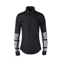 Black Geometric Texture Print Cotton Shirt Men Chemise Homme 2020 Luxury Brand Mens Button Down Dress Shirts Tuxedo Shirt Camisa