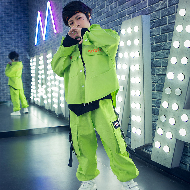 Boys Hip-Hop Suit Children's Jazz Dance Costumes Loose Green Suit Kids Street Dance Performance Stage Catwalk Costumes DL5294