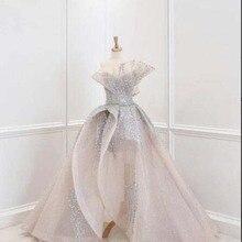 Elegant Champagne Vestidos De Formature Off the Shoulder Beaded Pearls A Line Sweep Train P