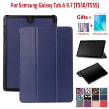цена на Trifold Case for Samsung Galaxy Tab A 9.7 SM-T550 SM-T555 SM-P550 Auto Sleep Smart Stand Cover For Galaxy Tab A T550 T555 Case