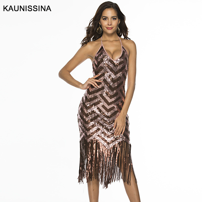 KAUNISSINA Spaghetti Strap V Neck Tassel   Cocktail     Dresses   Sleeveless Backless Sequined Party   Dress   Sexy Homecoming Gown