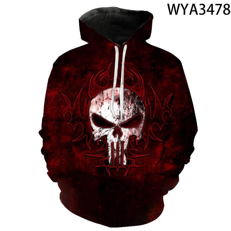 2020 fashion Punisher men's and women's Hoodie casual print 3D Hoodie comfortable autumn winter hip hop Street Sweatshirt