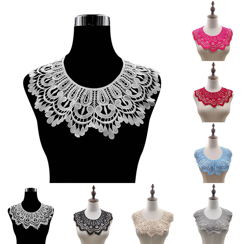 DIY Floral Lace Collar Fabic Embroidered Applique Patch Neckline Lace Fabric Sewing On Supplies Scrapbooking Fake Collar Patches