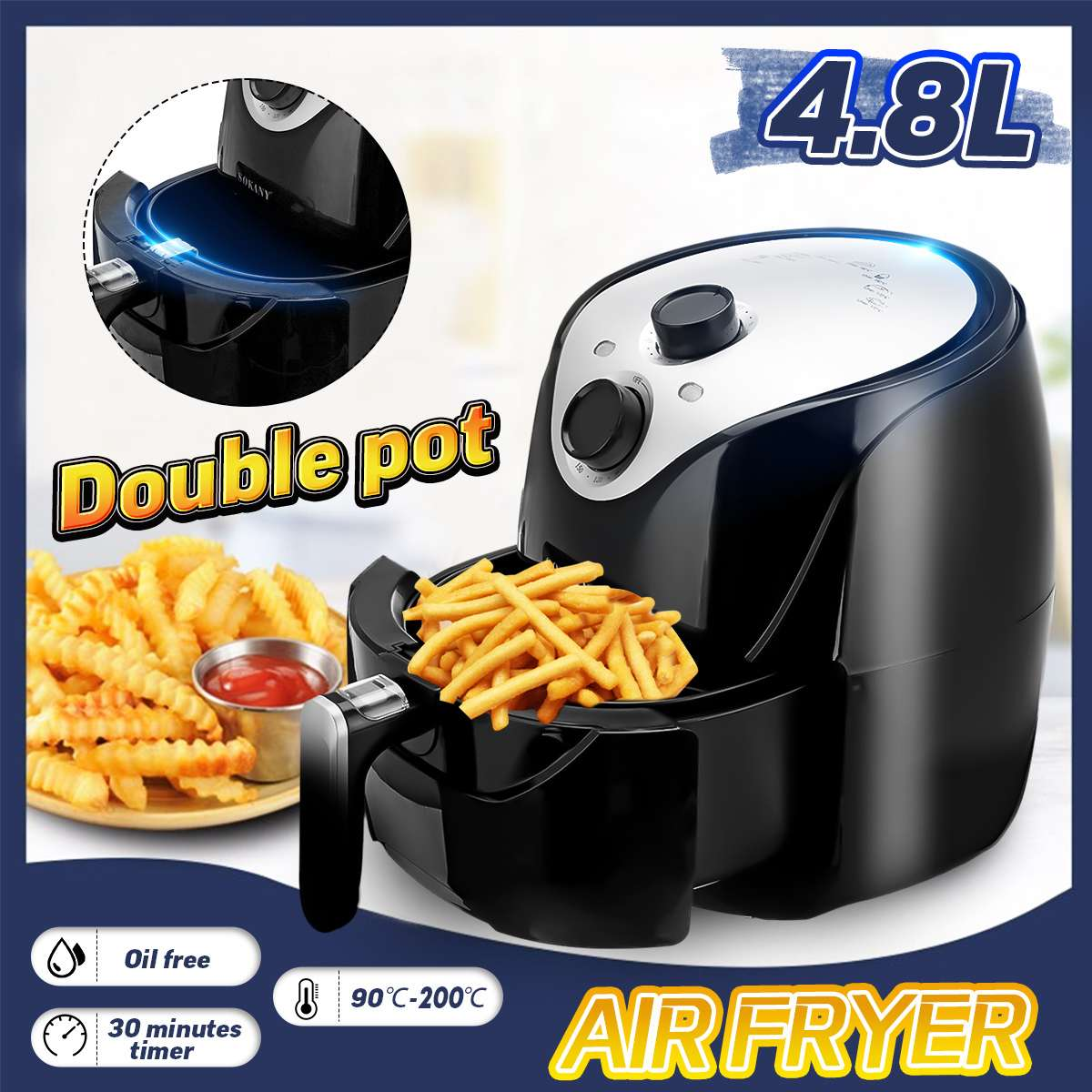 4.8L Electric Deep Air Fryer With Basket 1500W Health Chip Oil Free Oven Cooker Non-stick Pot Coating Timmer Control Air Fryer