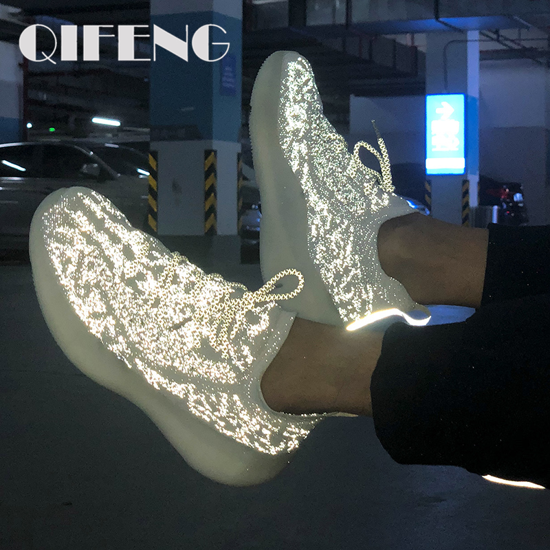 Casual Shoes Men Women Summer Fashion Sport Shoes Jogging Shoes Female Air Mesh Sneakers Night Reflective Light Shoes Male 350
