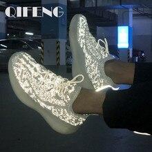 Sapatos casuais das mulheres dos homens da moda do verão sapatos esportivos sapatos de jogging feminino malha de ar tênis noite reflexiva luz sapatos masculinos 350