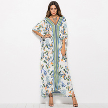 Robe Maxi-Dress Abaya Arabic Moroccan Muslim Batwing-Sleeve Dubai Fashion Women New Bohemian