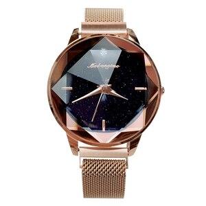 Image 5 - Üst Marka Saatler Kadınlar Için Gül Altın Örgü Mıknatıs Toka Yıldızlı Quartz saat Geometrik Yüzey Rahat Kadınlar için Kuvars Kol Saati