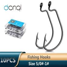 Crank Worm-Lure Fishing-Hooks Offset DONQL Carp Carbon-Steel Wide 5/0 for Soft 10pcs/Box