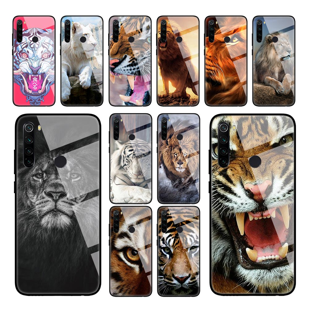 Tiger Lion Animal Case For Xiaomi Redmi K30 5G K20 8A Note 8T 8 7 6 Mi 10 Pro CC9 A3 Tempered Glass Shell Phone Coque