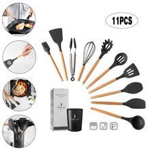 8/9/11PCS Silicone Cooking Utensils  Kitchenware Set Non-stick Spatula Heat Resistant Baking Kitchen Tools with Storage Black