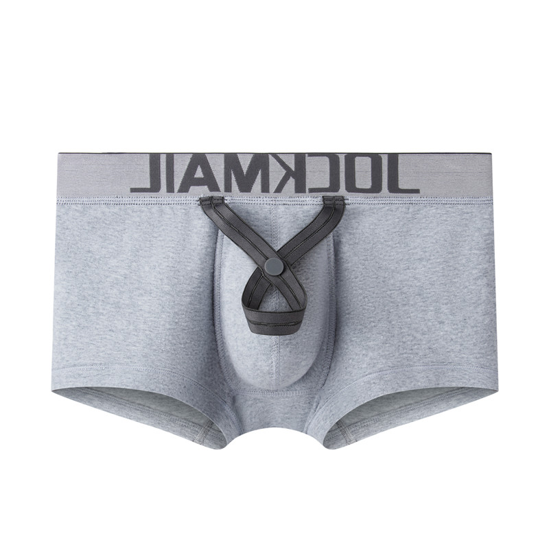 JOCKMAIL Sexy Men Boxer Penis Pouch U Convex Bulge Cotton Breathable Men Underwear Bullets Separated Ring  Gay
