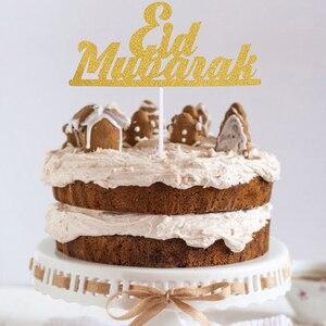 Image 1 - 1/10 adet altın ay Eid Mubarak kek Topper ramazan parti dekor fincan kek bayrağı İslam müslüman EID al fitr Eid parti malzemeleri