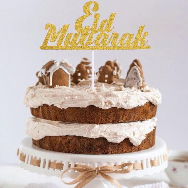 1/10 adet altın ay Eid Mubarak kek Topper ramazan parti dekor fincan kek bayrağı İslam müslüman EID al fitr Eid parti malzemeleri