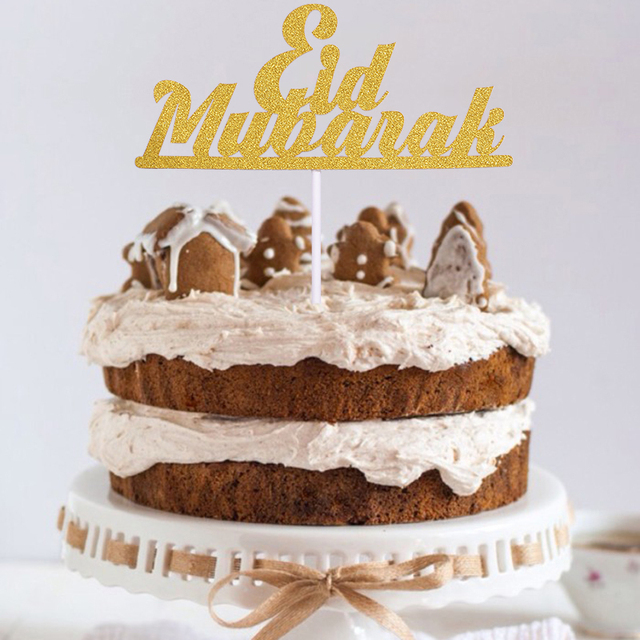 1/10pcs Gold Moon Eid Mubarak Cake Topper For Ramadan Party Decor Cup Cake Flag Islamic Muslim EID al Fitr Eid Party Supplies
