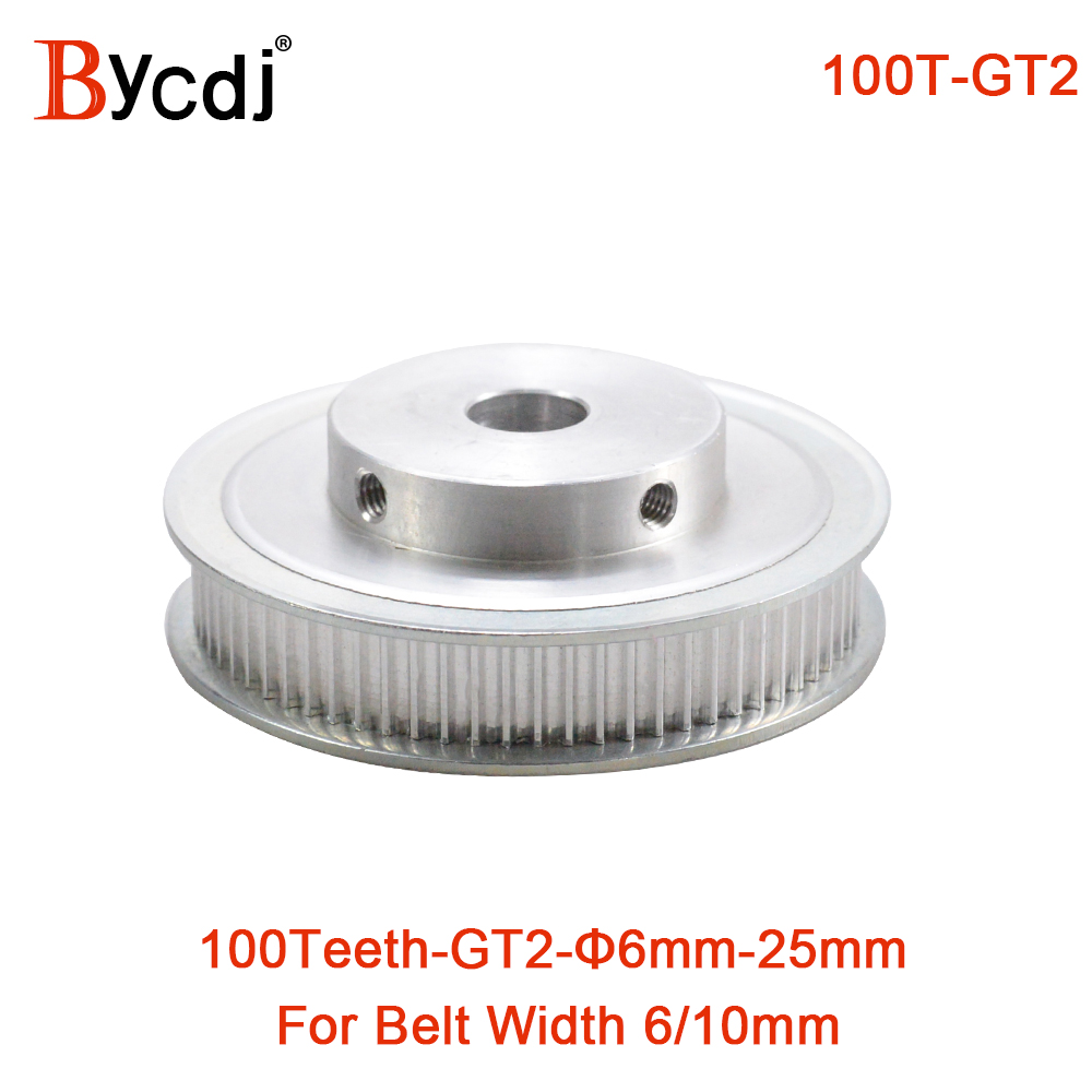 100 Teeth 2GT Timing Pulley Bore 6/6.35/8/10/12/12.7/14/15/16/19/20/22/25mm for GT2 Synchronous belt width 6/10mm 100Teeth 100T