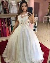 2020 New Classic Wedding Dresses Cap Sleeve O Neck Beaded Lace Appliques Ivory Up Back Gowns vestido de noiva