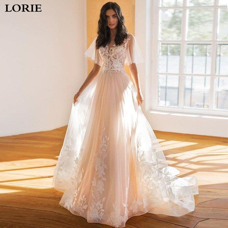 LORIE Boho A Line Lace Wedding Dresses Batwing Sleeve Appliqued Lace Bride Dresses Princess Wedding Gowns Vestidos De Novia