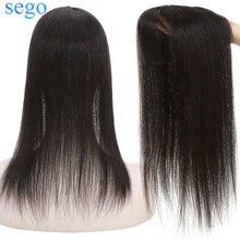 Sego 10X12Cm Zijde Basis Haar Toppers Met Knal 100% Menselijk Haar Toupet Voor Vrouwen Machine Remy Haar stuk Clip In Hair Extensions