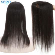 SEGO 10x12 см накладные волосы на шелковой основе с челкой 100% парик из человеческих волос для женщин машина Реми волосы на зажиме для наращивани...