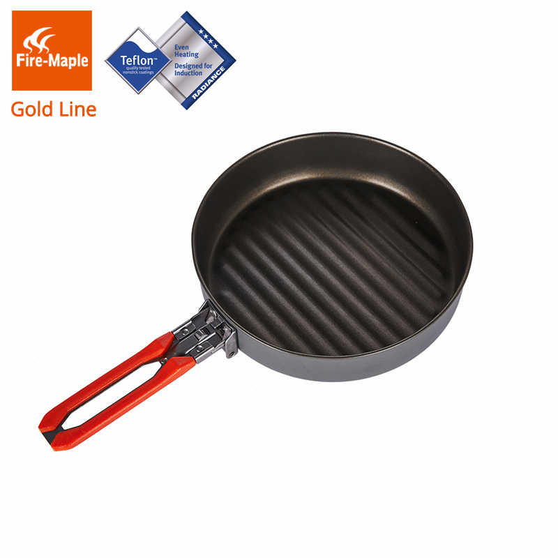 Fire Maple Gold Garis Lapisan Teflon Non-stick Wajan untuk Camping Hiking