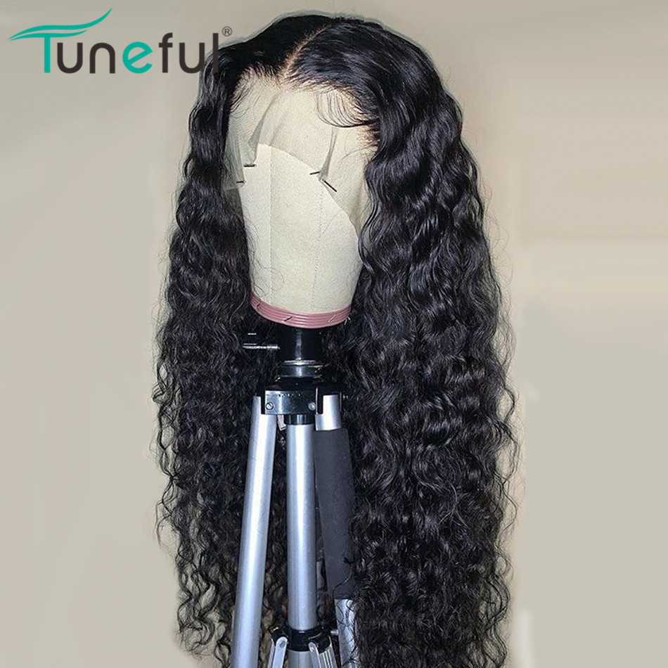 Tuneful Wig Lace-Wigs Lace-Frontal Remy-Hair Water-Wave Pre-Plucked 100%Malaysian 13x4 title=
