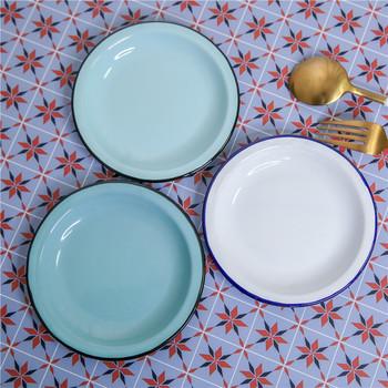 14 5 cm średnicy japońskie retro emalia nostalgiczny okrągły talerz na owoce emaliowane danie talerz na przekąski talerz na przekąski tanie i dobre opinie ROUND Metal Stałe