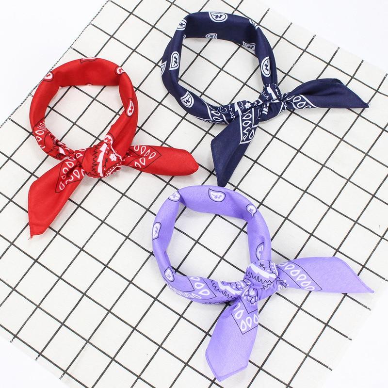 2019 Autumn New Vintage Printed Cotton Bandana Retro Square Scarf Women Chic Print Headbands 54*54CM