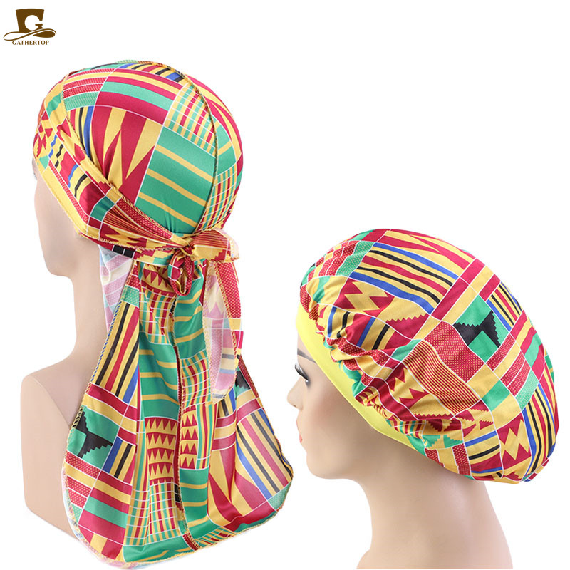 New Men African Pattern Print Silky Durag And Bonnet 2pcs Set Women Ankara Bonnet Cap Men Long Tail Durags Wave Cap Sleep Cap