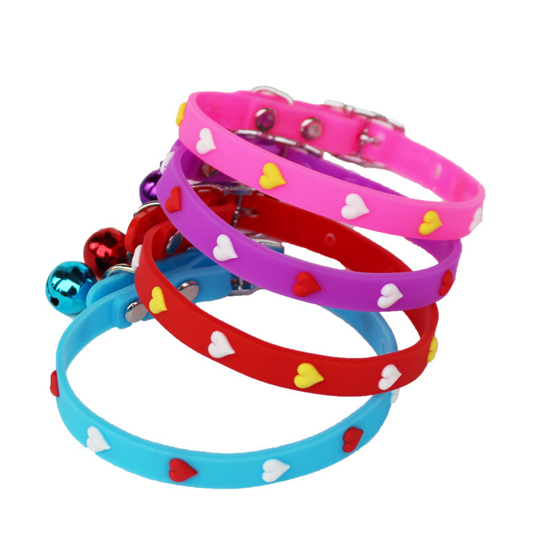 Pet Collar Silicone Band Bell Cat Neck Ring Small Dogs Cat Supplies Multi-Pattern Dog Traction Belt Necklace
