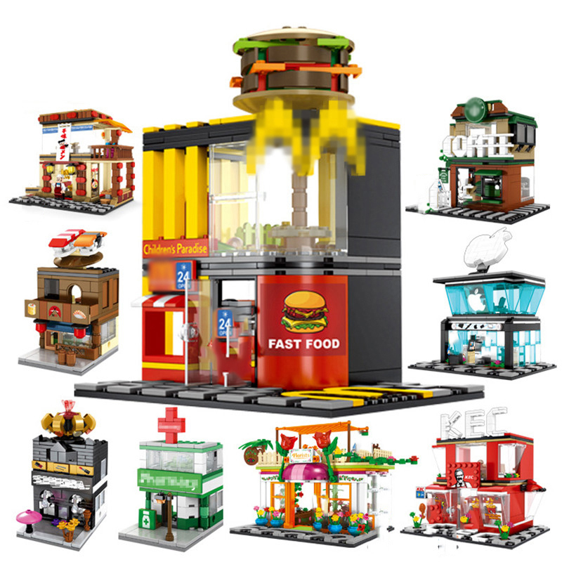 Street Hamburger Cafe Retail Convenience Store Architecture Building Blocks Compatible Legoed Technic City Street View Brick Toy