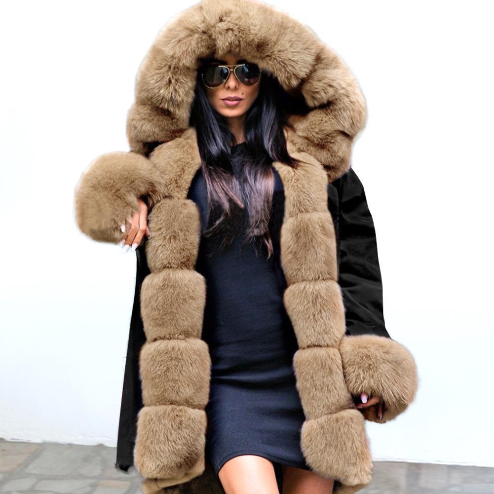 Frauen Winter Jacke Mantel Mode Frauen Mit Kapuze Mantel Faux Pelz Baumwolle Fleece Weibliche Parkas Hoodies Lange Mantel